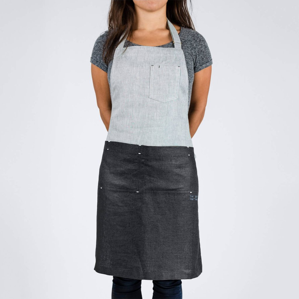 The Darcy Apron  - $85 - Also made from Irish linen with adjustable brass slide, pockets, and waist ties.