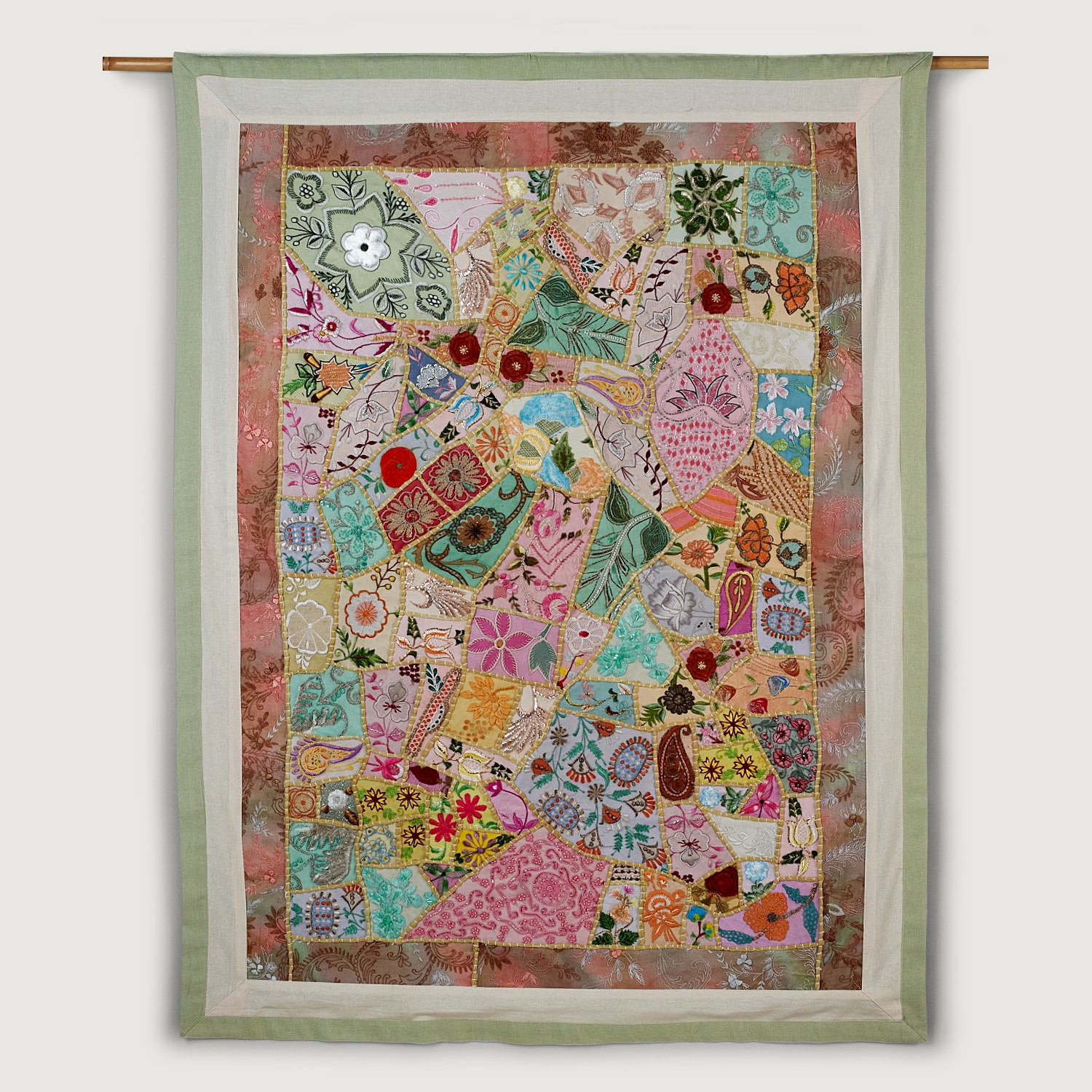 Springtime Dawn Wall Art  - $145 - Made in India from the embroidered pieces that have been saved from saris