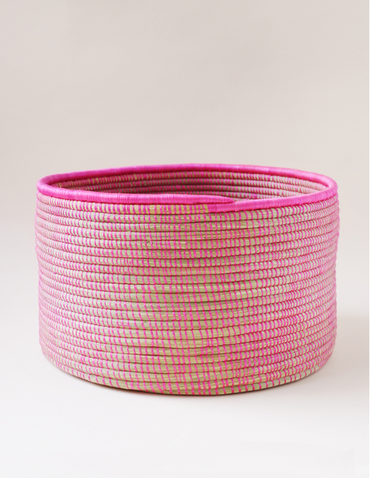 "Open Weave Floor Basket - Hot Pink  - $175   -   handwoven sisal and sweetgrass- 15"" x 9.5"" - pretty and super functional!"