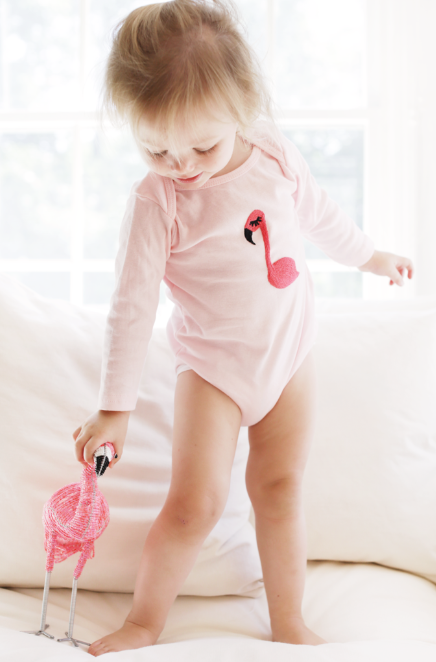 Flamingo Onesie  - $36 - An American Apparel onesie with a handstitched flamingo