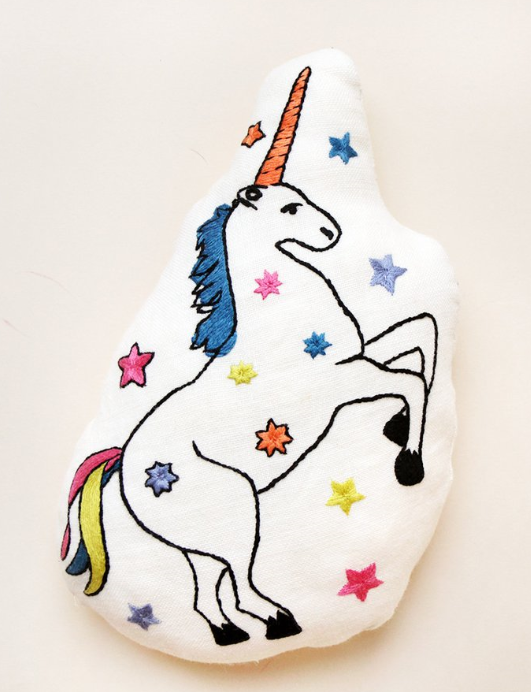 Hand Embroidered Unicorn Doll Cushion  - $75 - NOT just for kids.  I think anyone needs this in their life.