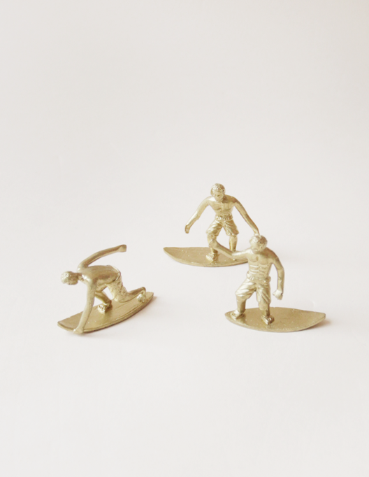 Miniature Brass Surfer Figurines  - $95 - recycled brass