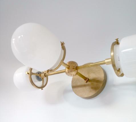 MELPOMENE SCONCE by Sazerac Stitches  - $195 - raw brass and glass - so cool