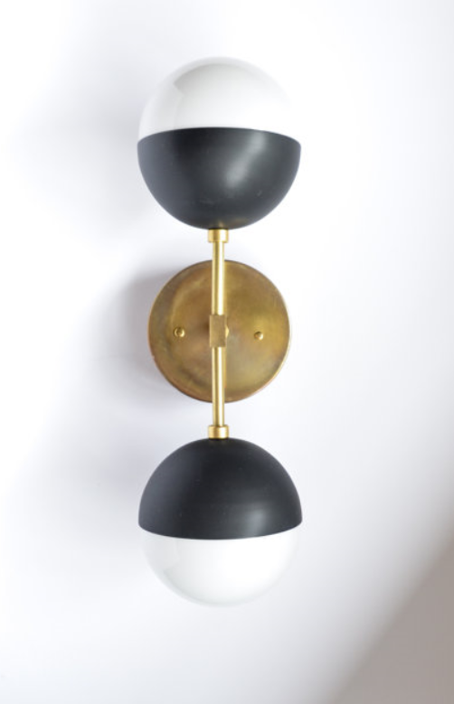 FIONA with matte black by Triple Seven Home  on etsy.com - $188 - solid brass and glass - Pretty much the same as above, but adding some black in there because I kinda like the idea of a pale blush (our painted walls), gold, and black combo.