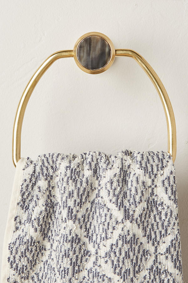 """ALVEAR TOWEL RING from Anthropologie - no longer available - brass and natural horn (okay, don't judge me on the """"horn"""" part :( I don't even want to know. I'd guess cow :( :( :("""