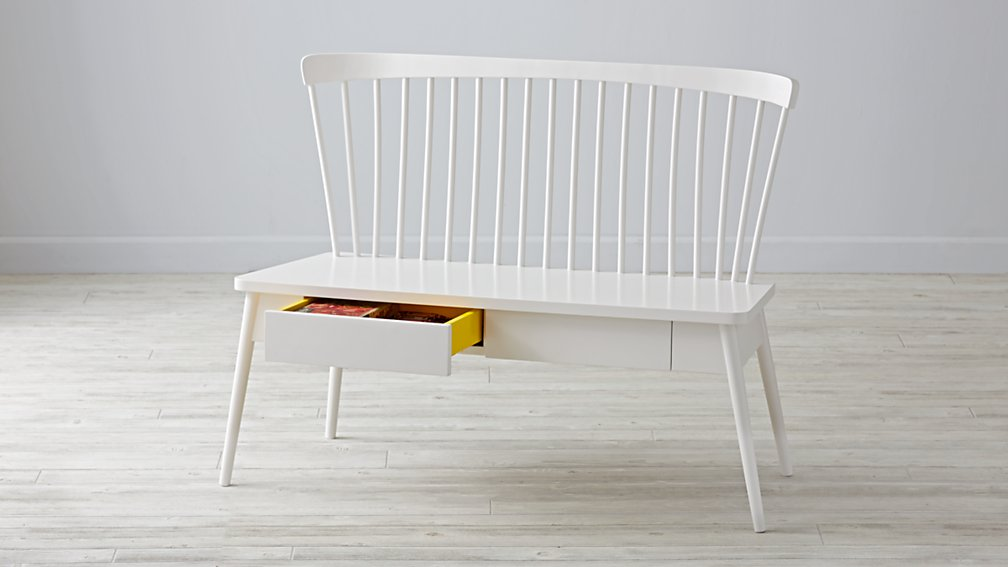 Homestyle Bench by Land of Nod  - $299 - Super cute! and the size of it would make it fit under that window with just a couple inches sticking out on each side. So, it's kind of small. And it's a kid's bench, and not made in America because it's from a big box online store...sigh. Okay. Plus, $300 for something that little, plus shipping, probably not. But, it is super cute, especially with those yellow drawers!