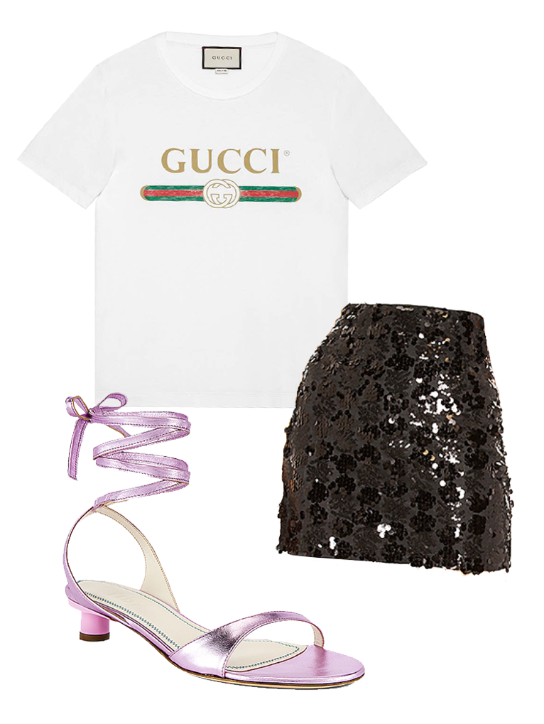 Gucci T-Shirt |  Sequin Skirt  | Strappy Sandals