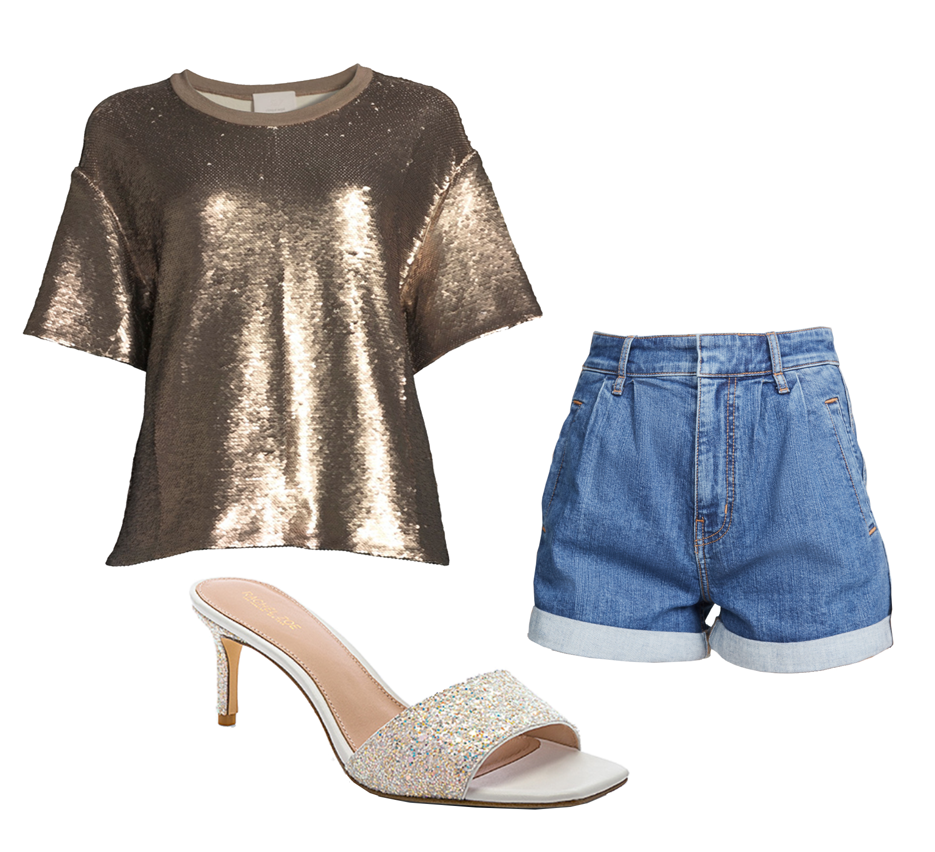 Sequin Top  | Denim Shorts | Glitter Slip-On Heels