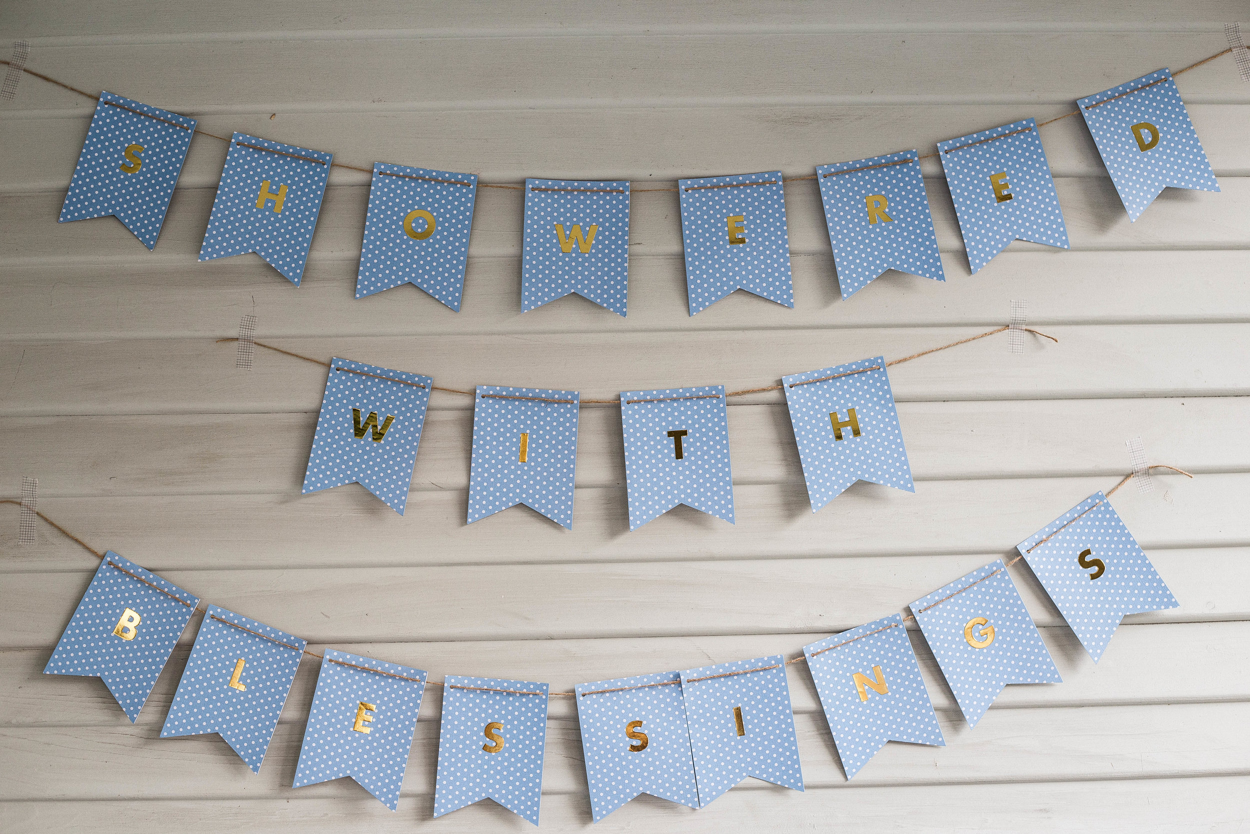 Homemade baby boy bunting