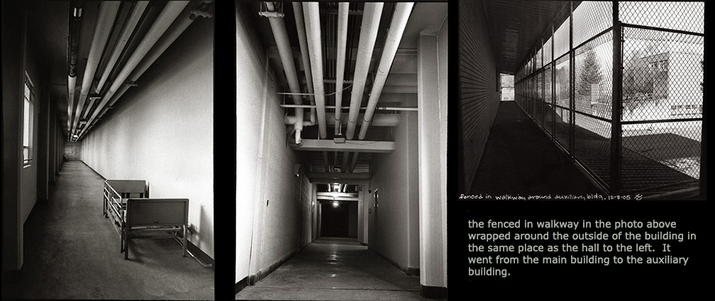 The 2 photos on the Left/Middle show opposite aspects of the same hall and go from the main building to the subterranean tunnel system.  In the left photo, at the very end of the hallway is the doorway to the main building.  In the middle one there are elevators at the end of the hall to the right that take you up to the auxiliary building.  At the very end, past the elevators, was a door that led to the tunnels.