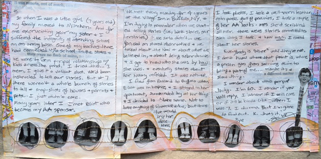"""Here's what it says: So when I was a little girl (7 years old) my family moved to München. And for one excruciating year, my sister and I suffered the indignity of attending school on an army base. One of my teachers there had connected with a school in the states and we were to form pen pal relationships with kids across the pond. I tried this. I mean, I gave it a valiant shot. We'd been instructed to tell our stories. But at 7 there weren't a whole bunch of stories to tell, and snap-shots of houses and parents and pets...I just didn't care.  Many years later I met Eliot who became my AA sponsor. We met every Monday for 4 years at the Village Inn in Buffalo, NY, and I'm trying to remember when we started telling stories. (i.e., back-stories - our herstories) We sorta didn't. We focused on shared observations and we talked about the Now and about what we believed in, and about being sober drunks. And I got to know who she was by how she was. Eventually, stories about her unfolded. It was natural.  I flew from Portland to Buffalo when Eliot was in hospice, and I stayed in her apartment, surrounded by all her things. And I decided to take some. Not to take anything of financial value, but items that would keep her close to me. I took photos, I took a well-worn leather coin purse full of pennies, I took a couple of her AA books - ones she'd scribbled all over. There were stories connected to each thing I took, and how  much  I cared about her stories.  Everybody is """"other"""" until they're not. I don't know where that point is, where a person goes from something alien to being a part of me...maybe it's a slow thing.  I wonder about this pen pal thing. I'm 60. I wonder if you will reply. I wonder if I will care or if it'll be kinda like when I was 7. I dunno. But I'm game to find out. K, that's it.  Bye."""