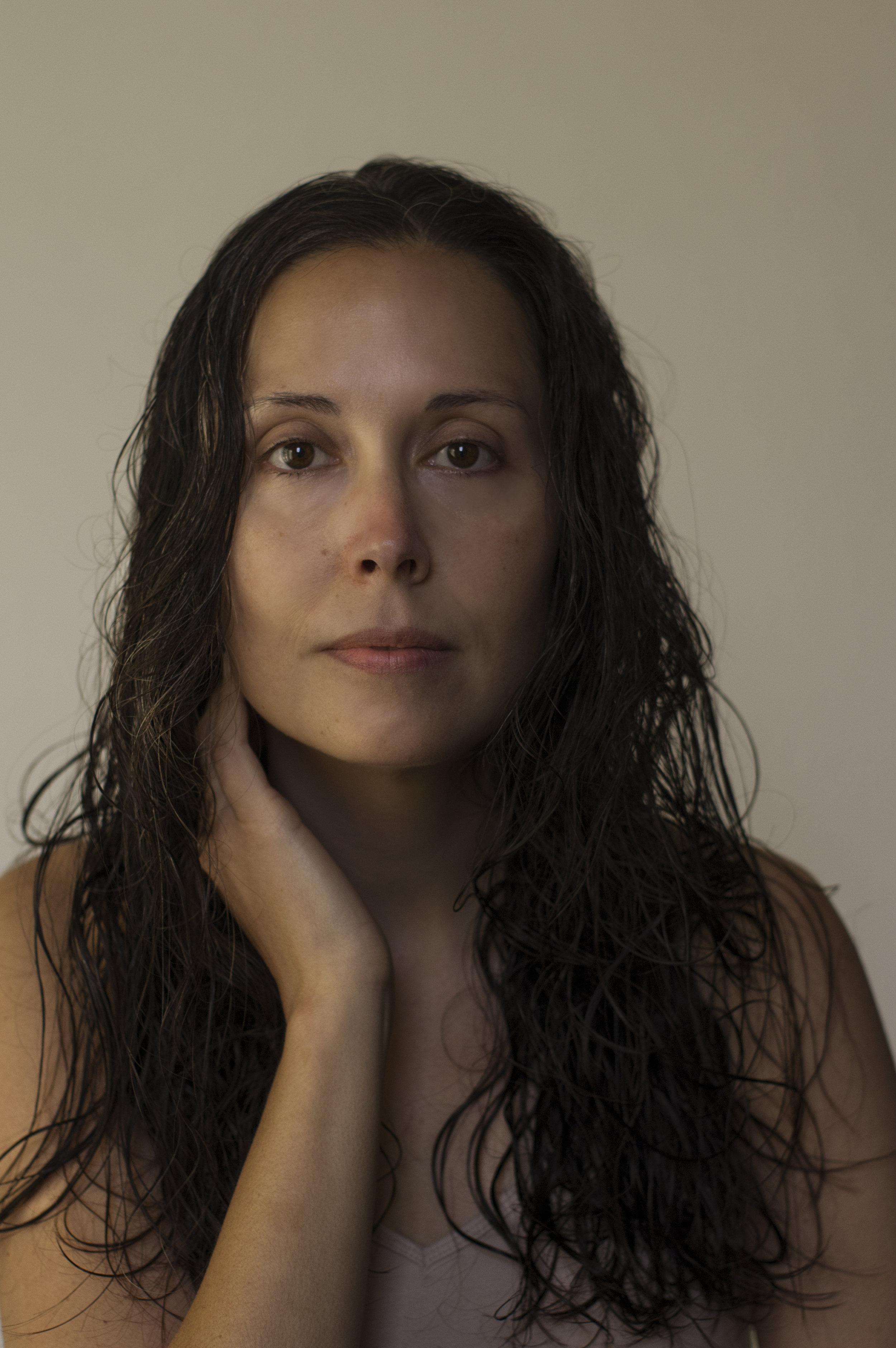 Portrait of a woman with no makeup on