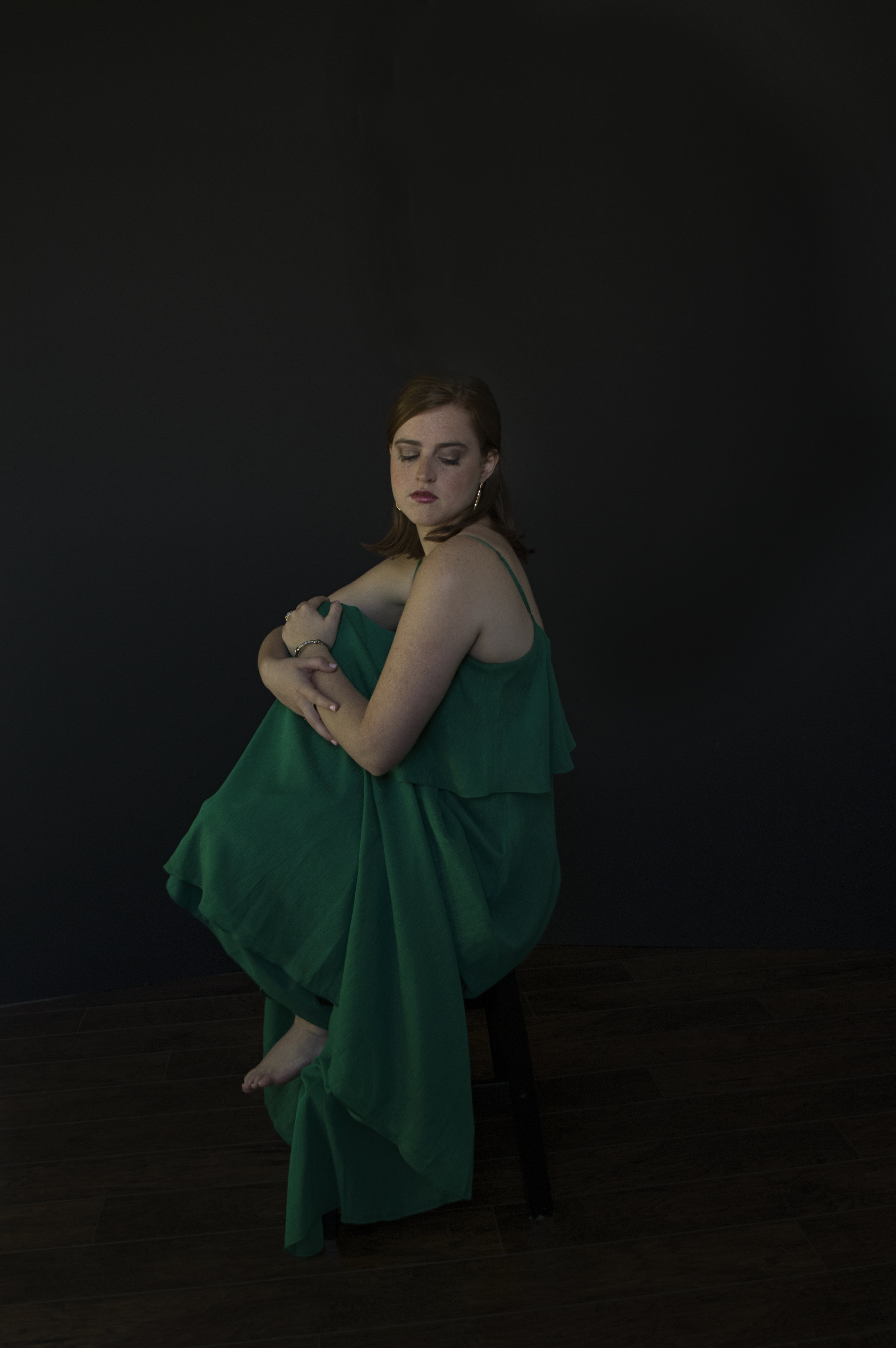 Heirloom Portrait of a Young Woman in a Gown.