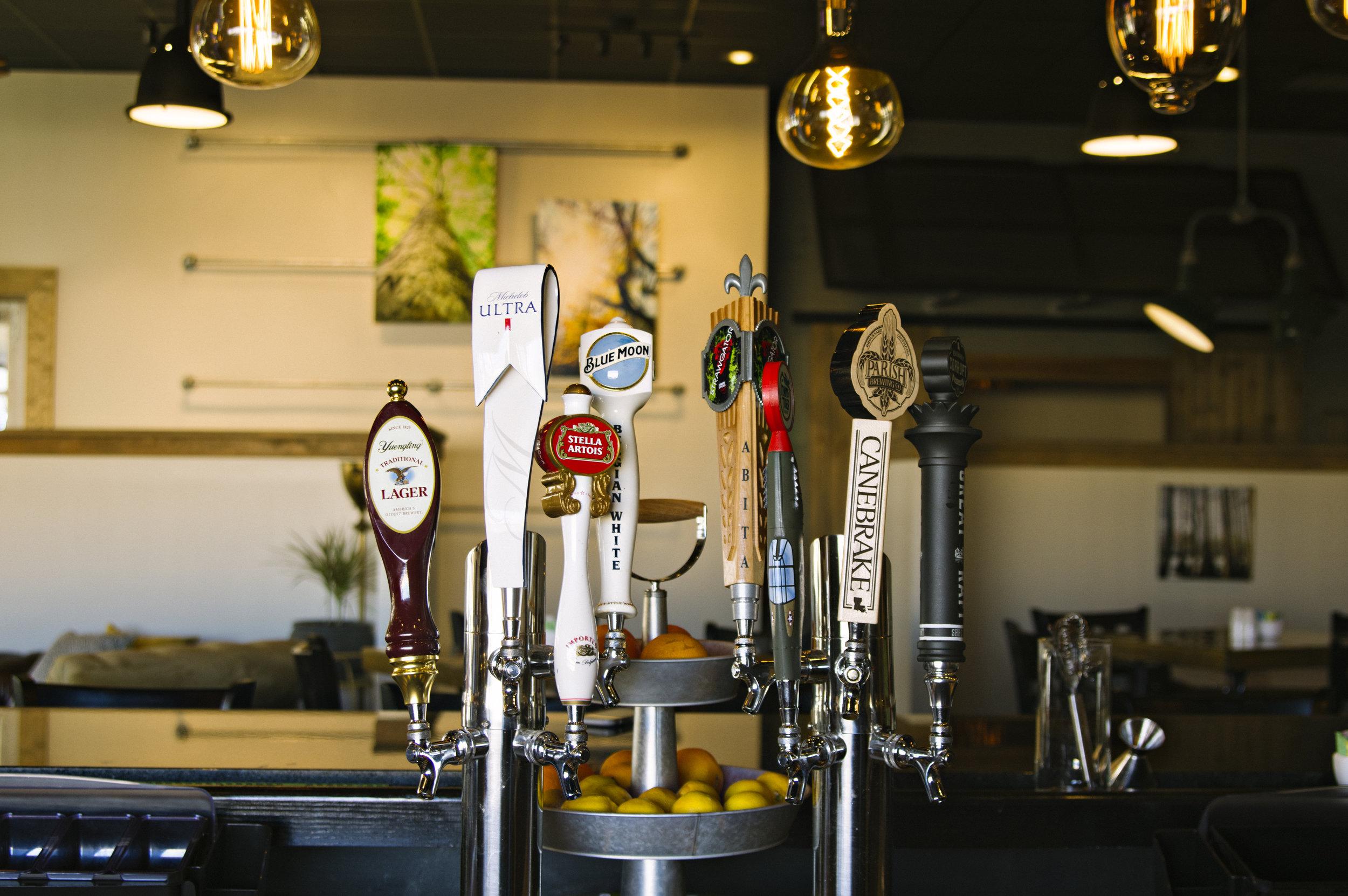 Beer taps at Bayou Roux