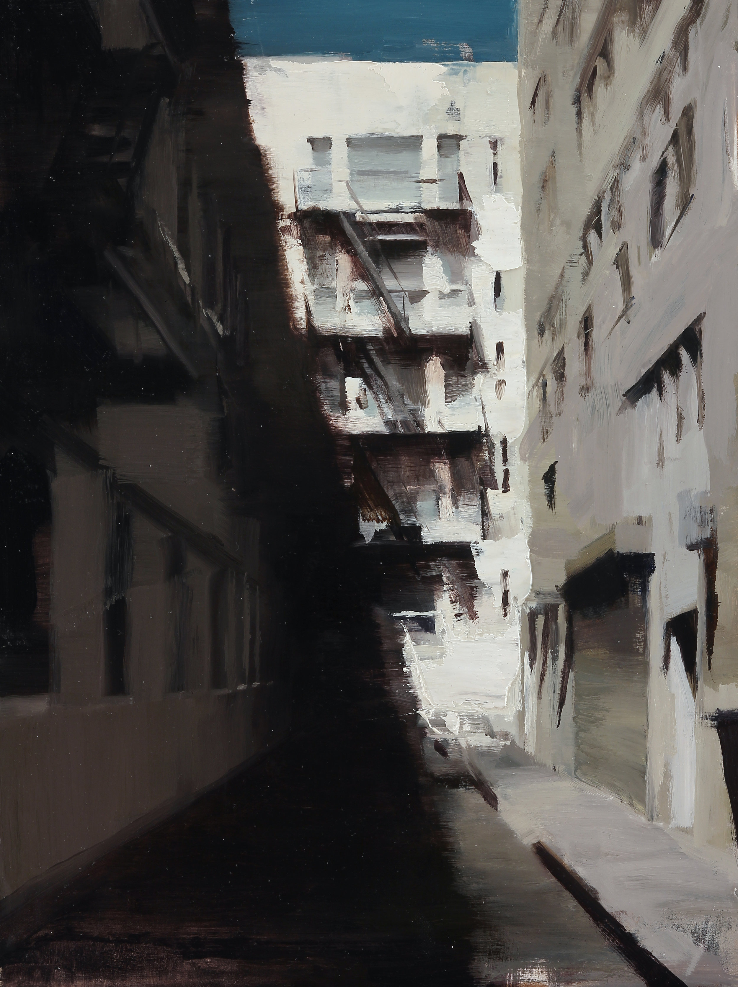Shadows of an Alley 16 X 12 inches oil on panel