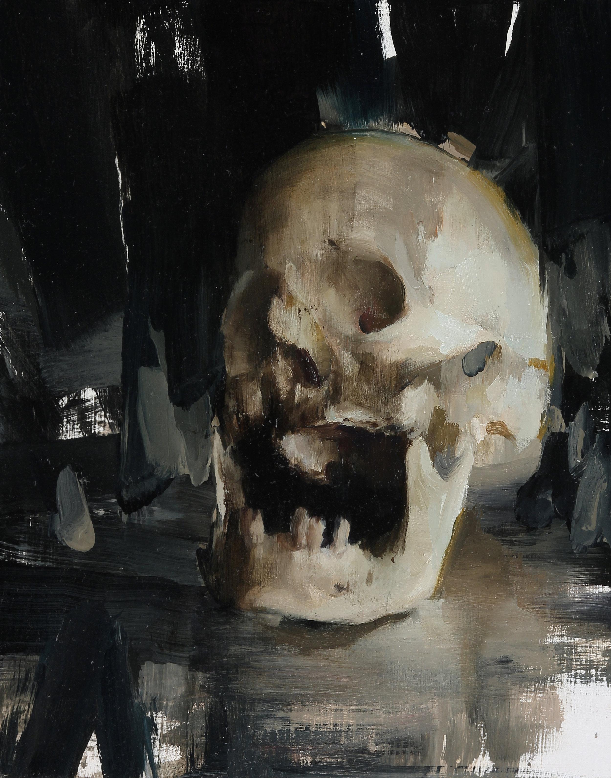 Memento Mori Skull, 10 X 8 inches, oil on panel