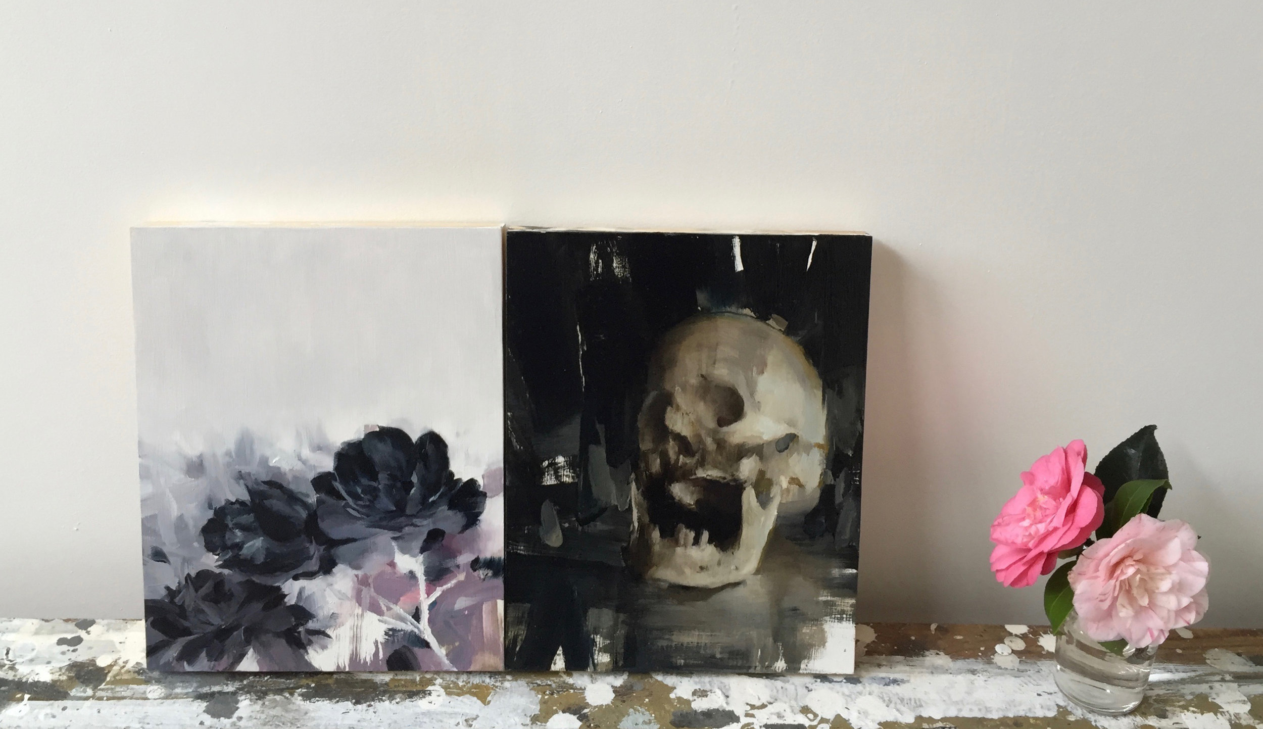 Memento Mori diptych, 10 X 16 inches, oil on panel
