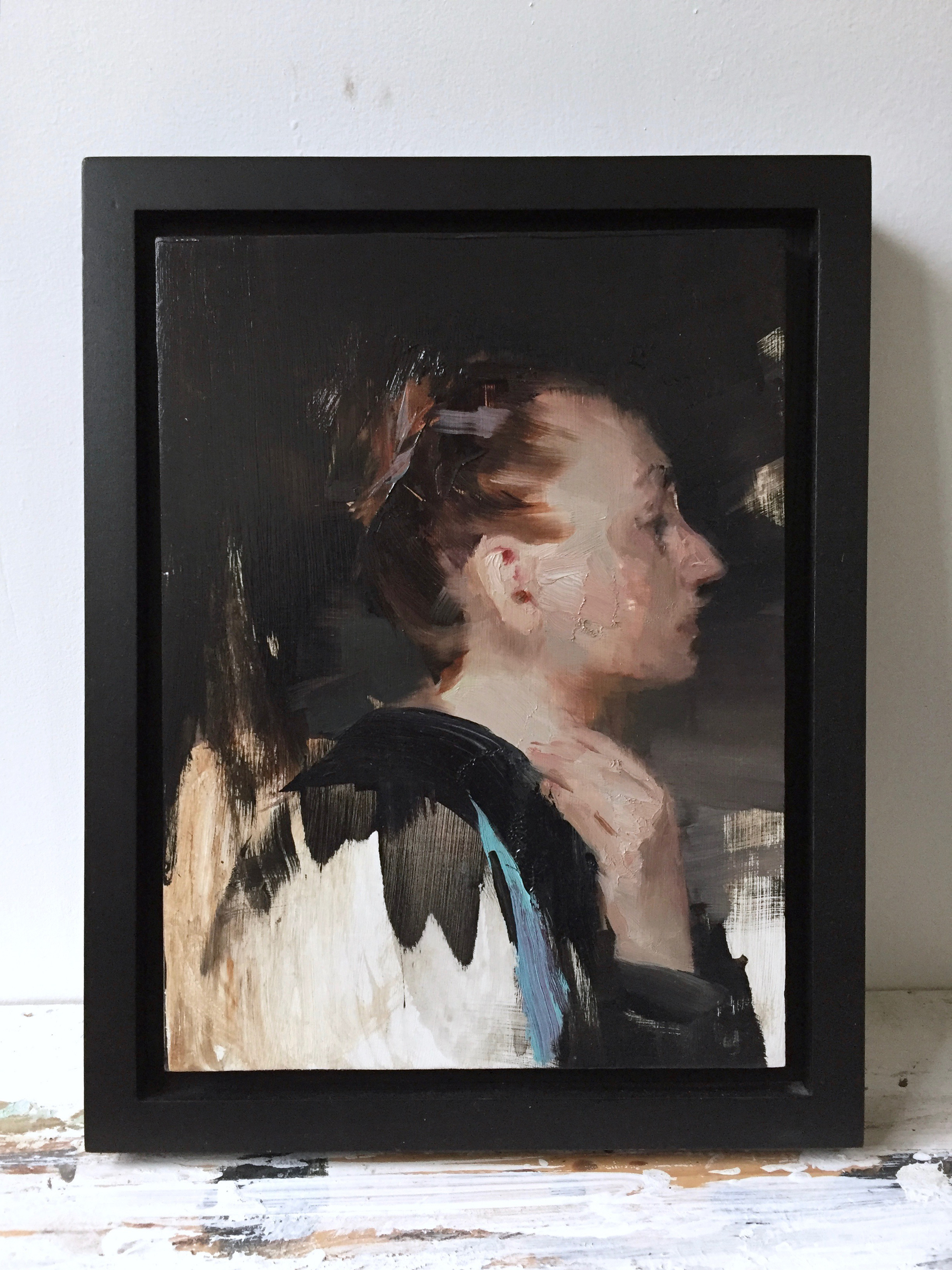 Woman in profile, 12 X 9 inches, oil on panel, Framed