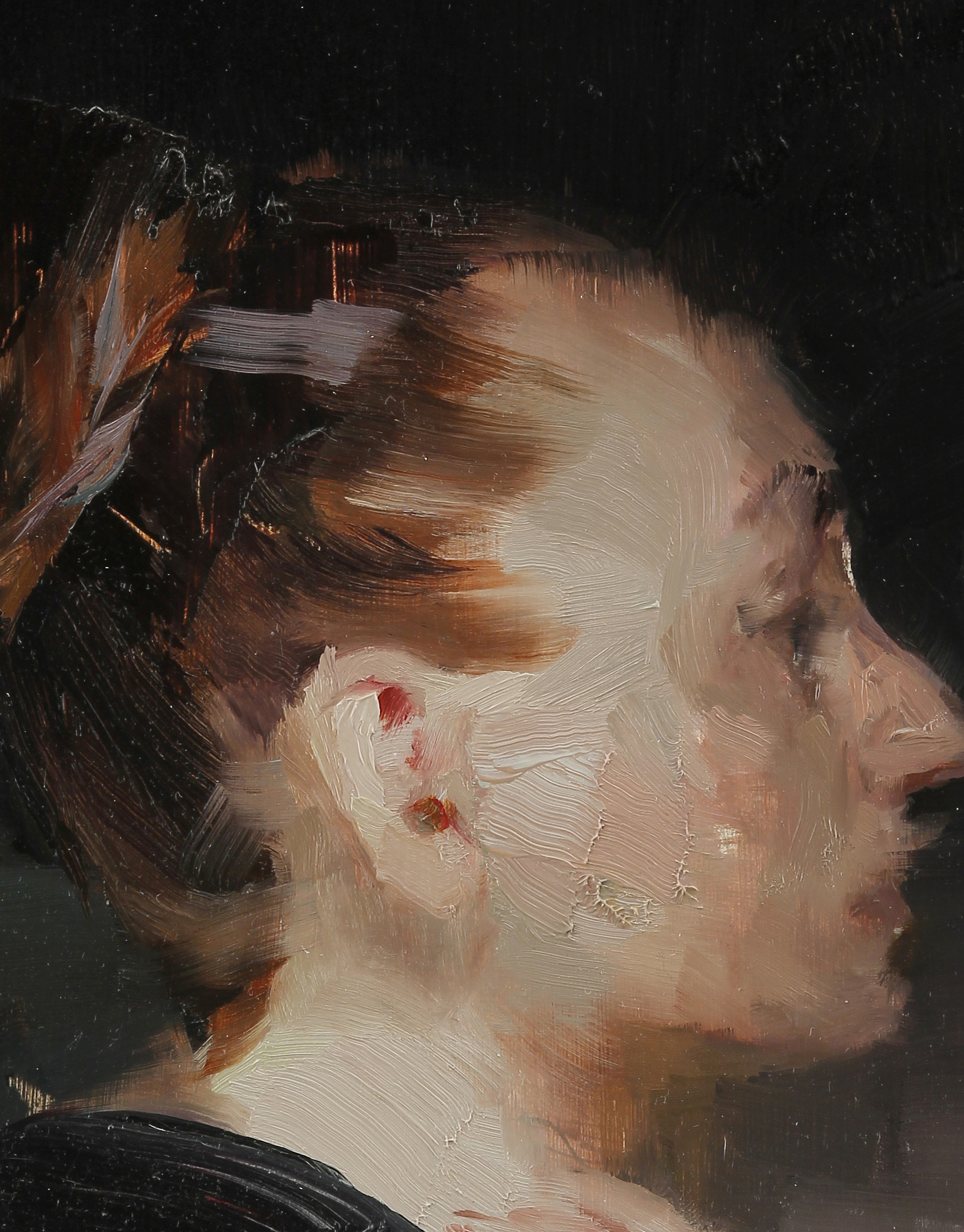 Woman in profile (detail), 12 X 9 inches, oil on panel, framed