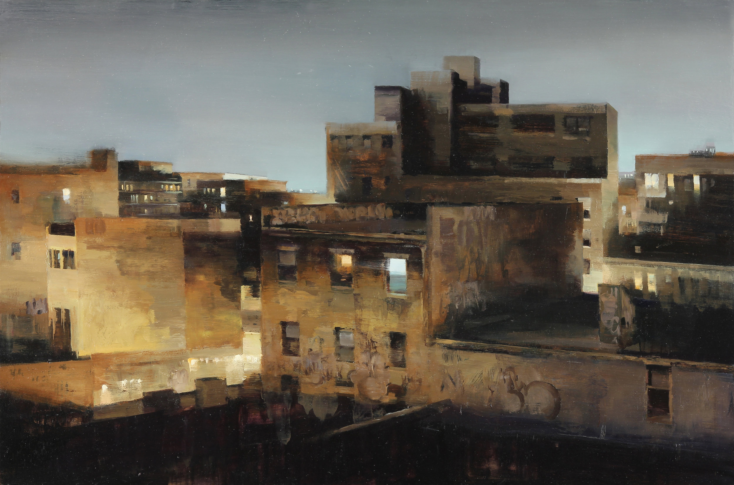Williamsburg at midnight 30 X 45 inches oil on panel
