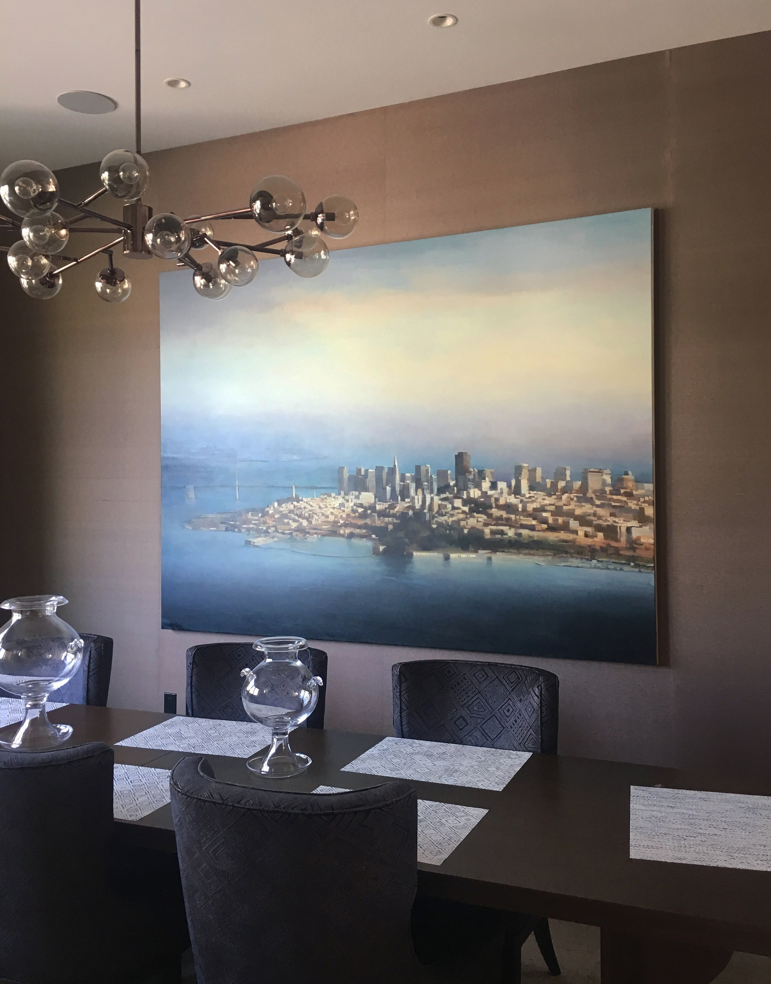 "SF Skyline 72"" X 96"" oil on canvas     Installation view courtesy of  Hashimoto Contemporary ."