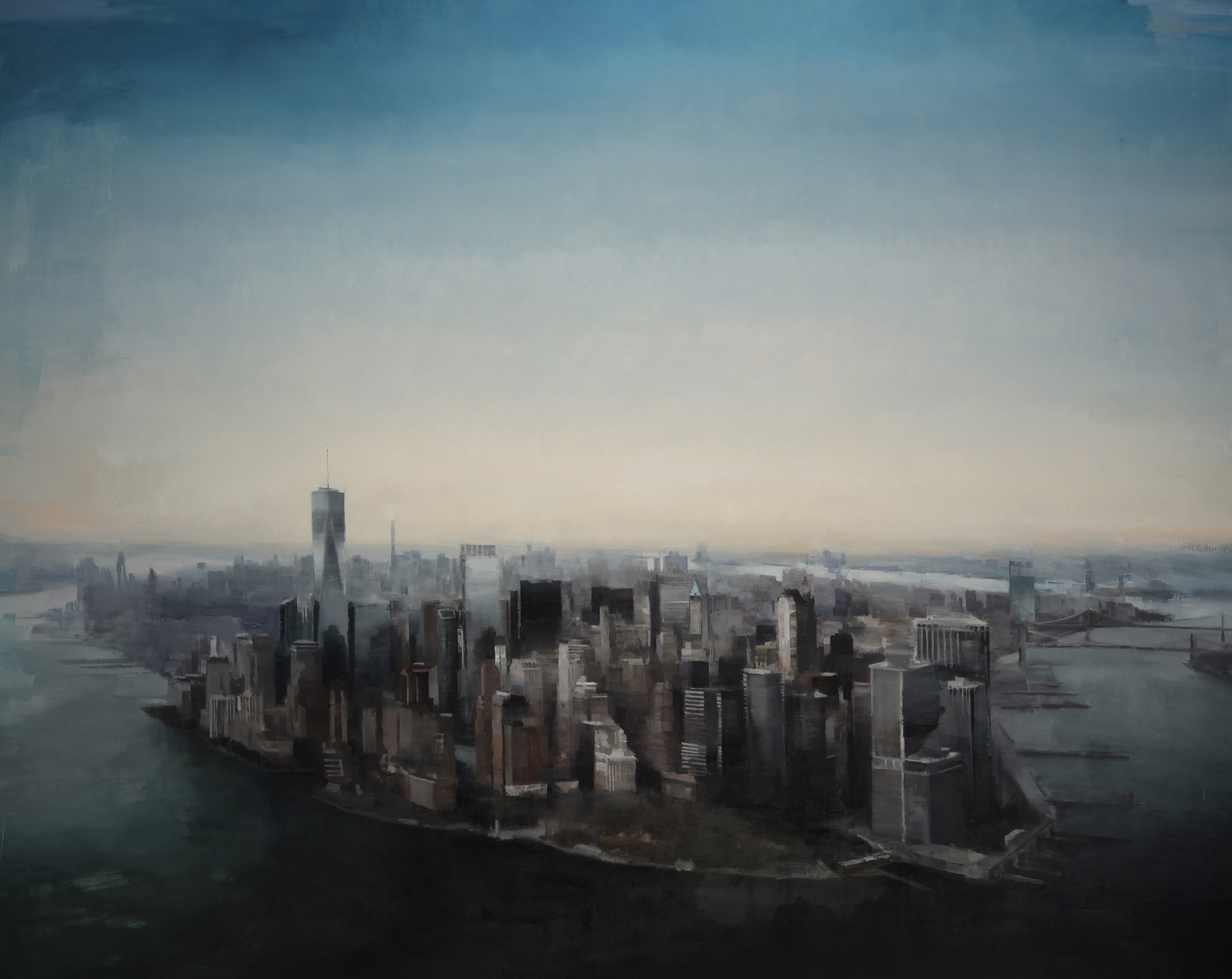"Manhattan from above  72"" X 90""  oil on canvas"