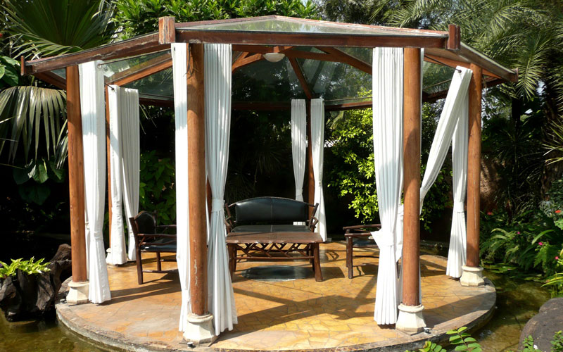 Wooden column sitout with glass roof amidst lotus pond