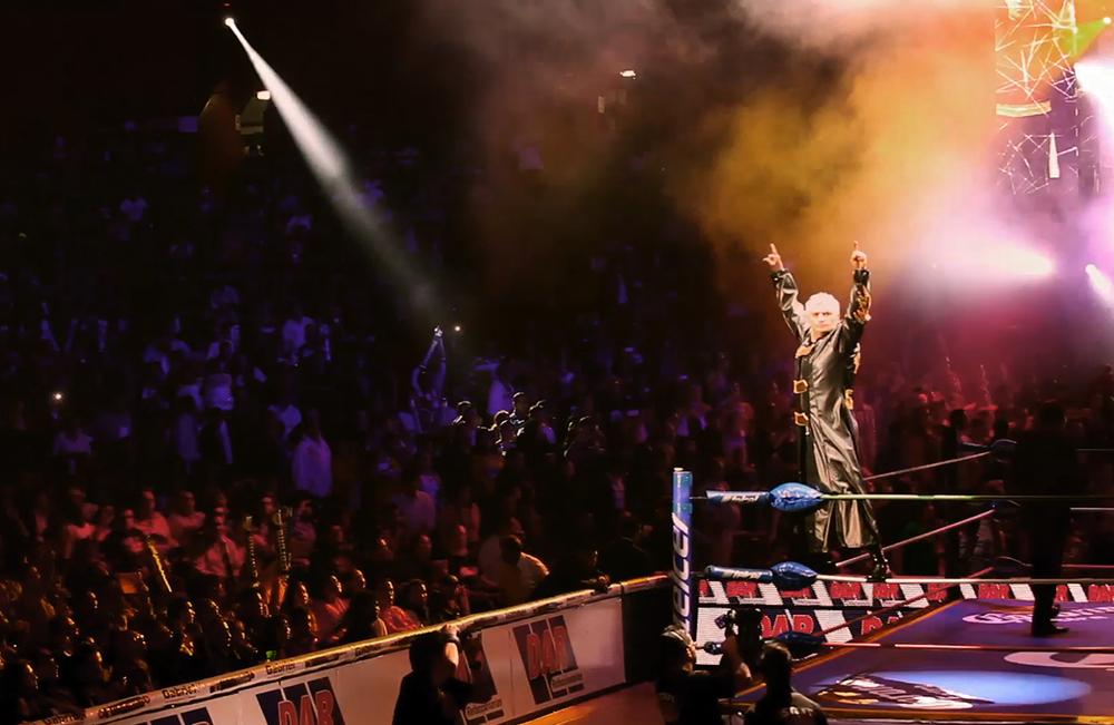 Mexican wrestler Shocker makes his entrance. (Image courtesy of Lucha Mexico/Kino Lorber.)