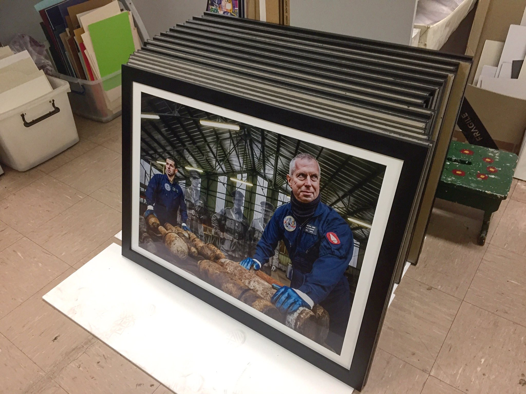Framed and awaiting delivery to Gatakers Artspace, the prints for the Australian debut of 'Recovering The Past' are pictured at framers Artplus, Bundaberg.