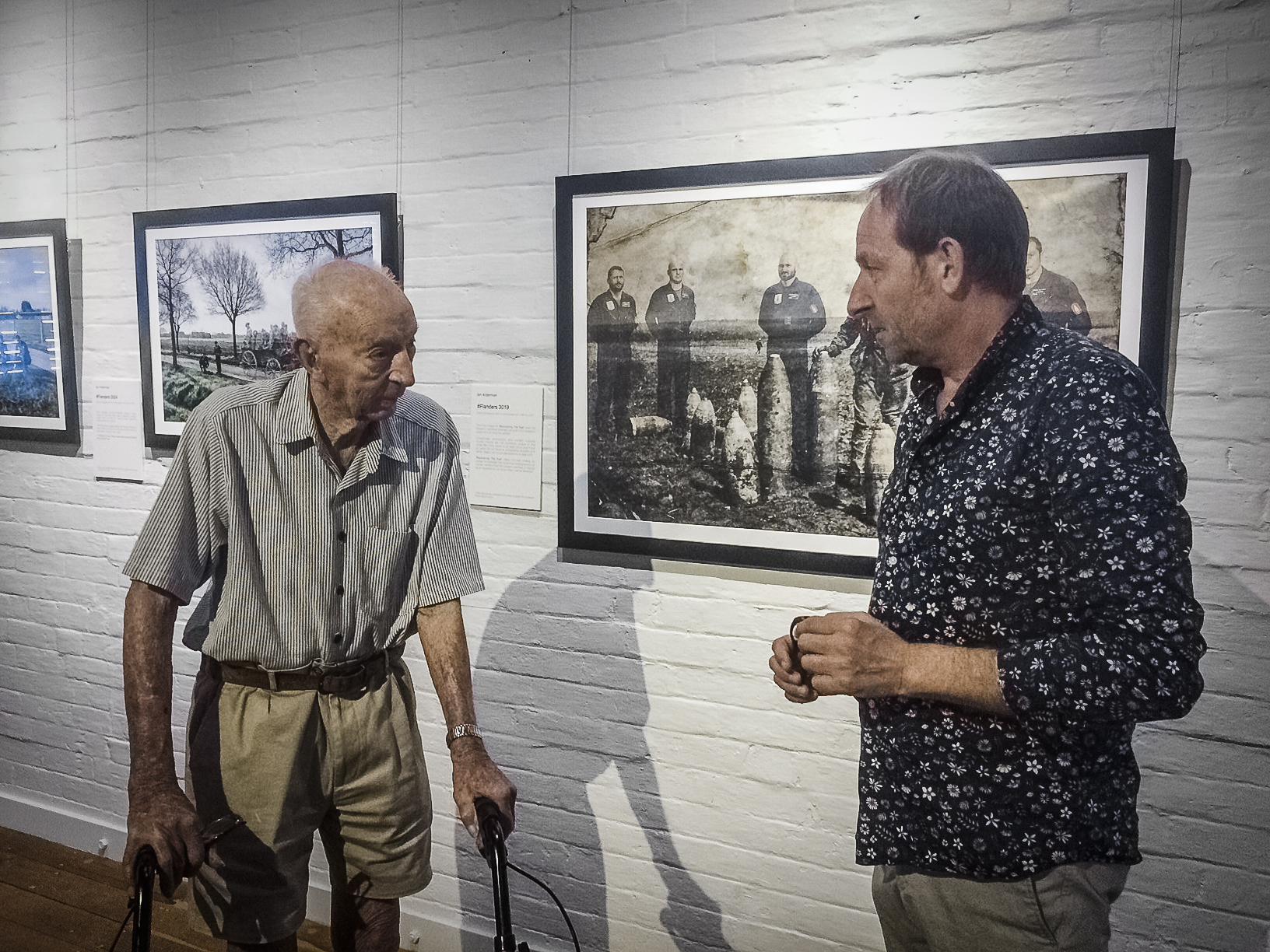 The 98 year old (and fantastic) Wilfred Bott. His father and five uncles all fought at Passchendaele, all 6 men returned home to Australia unscathed. With the exhibition itself filmed on the Passchendaele battlefield, I was very pleased to have Wilfred visit and tell me about his ancestors exploits in Flanders a century ago.