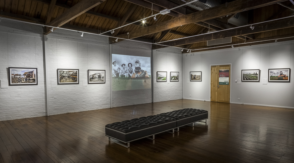The second gallery; in addition to fifteen of the exhibition's images and projected onto the wall, this gallery also featured the animated fade reel