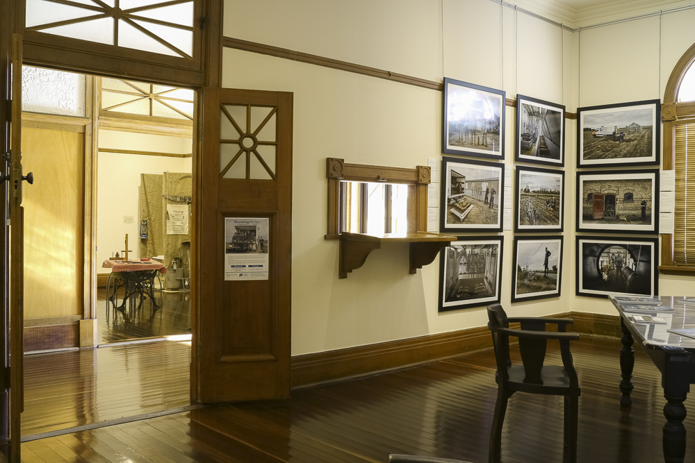 The artworks of  'Recovering The Past'  in the beautifully preserved surroundings of the Gladstone Regional Art Gallery