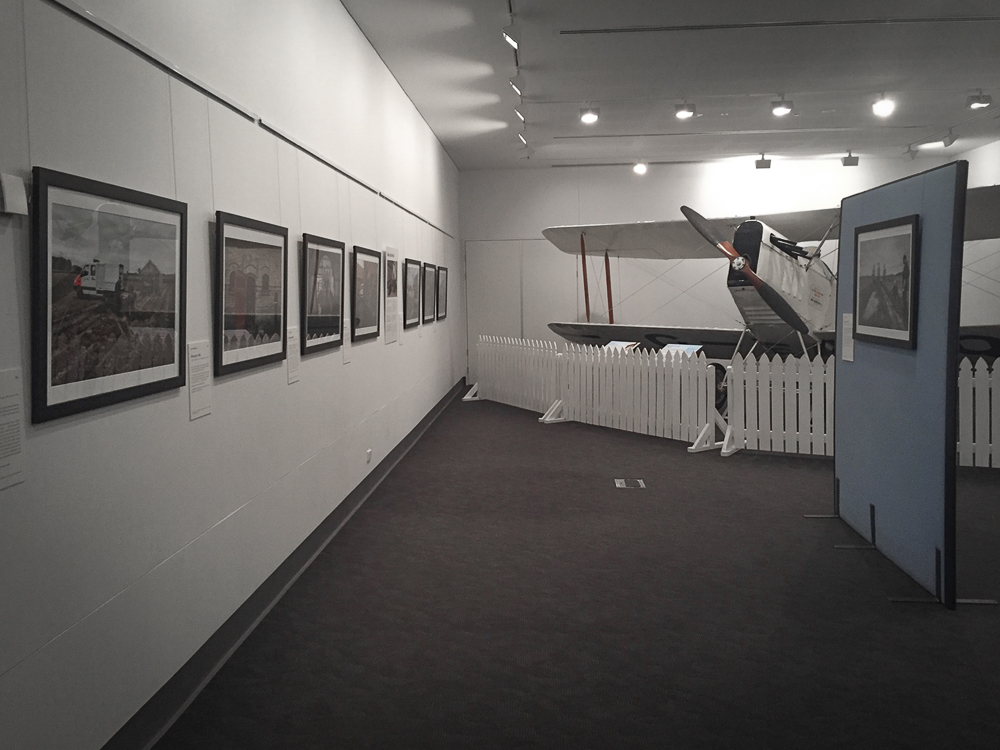 Eight of the 17 images of 'Recovering The Past' currently displayed at the Hinkler Hall of Aviation, Bundaberg, Queensland, Australia
