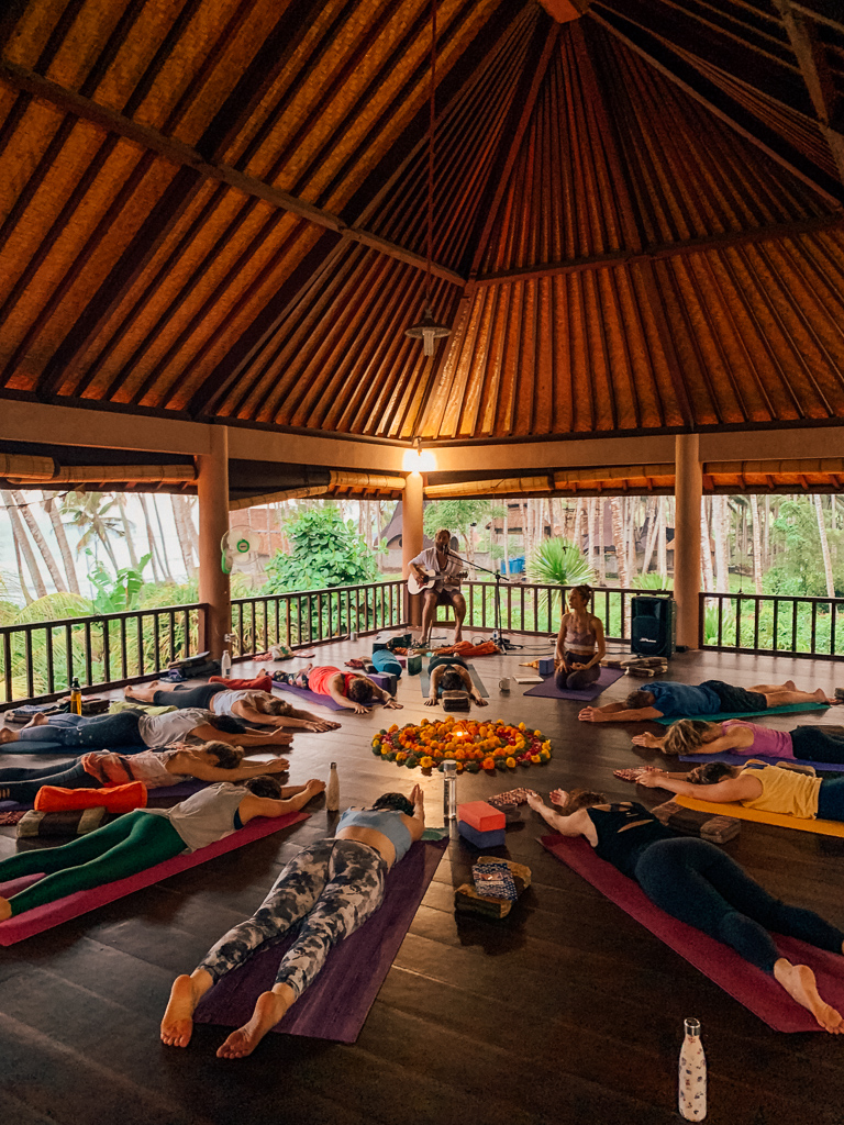 One of two practice shalas at Shanti Agung, surrounded by 360° of 100-year old coconut forest