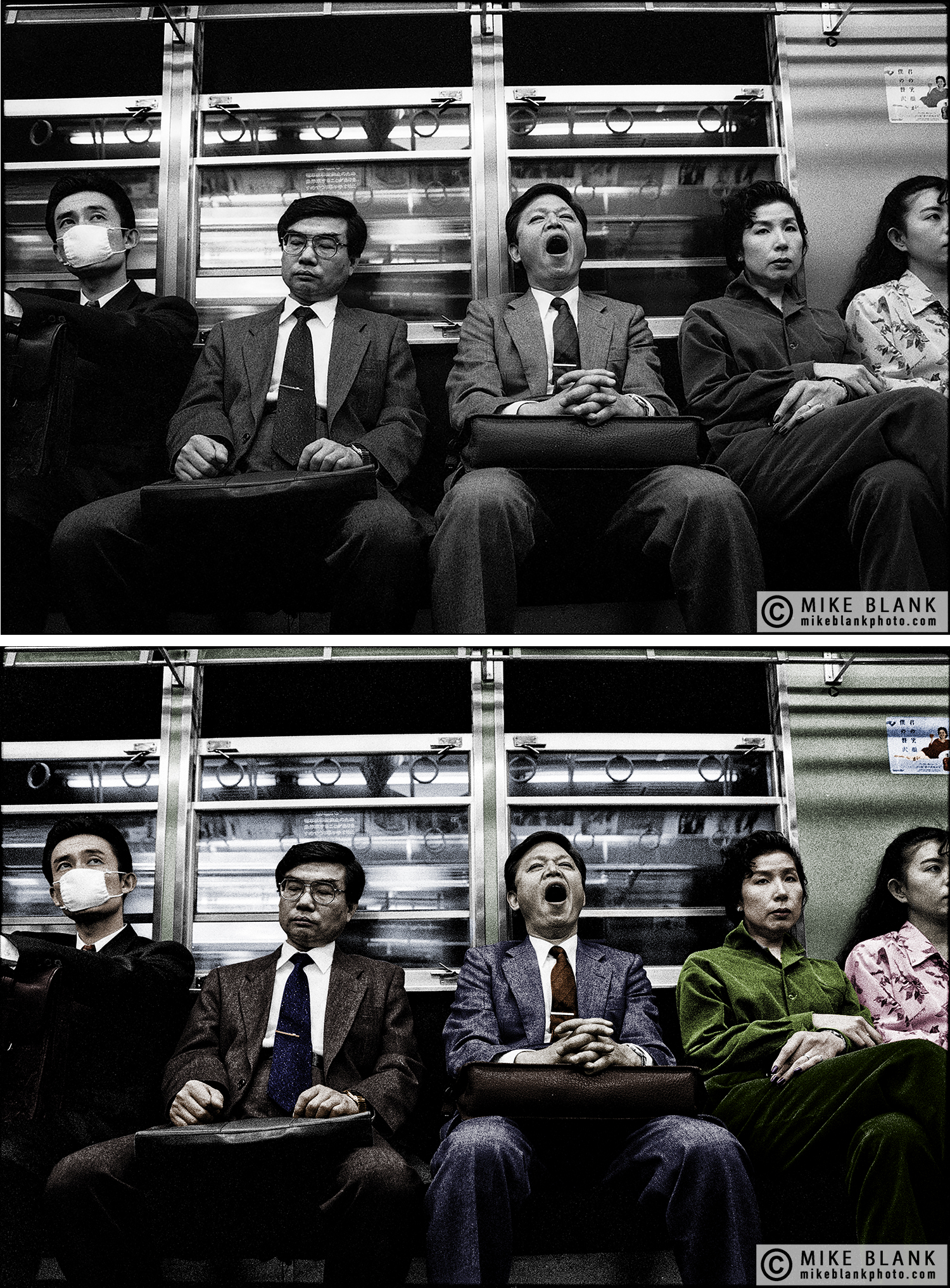 Colourised, Commuters Tokyo subway 1991