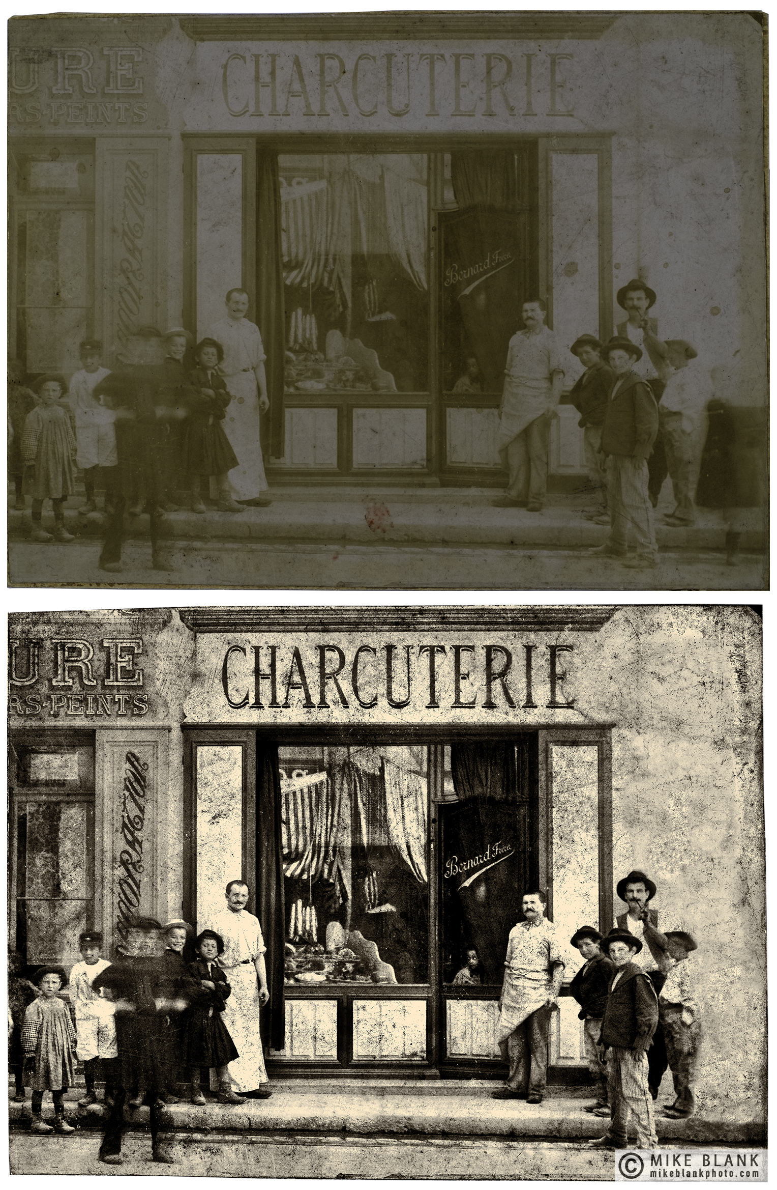 Digital restoration: Charcuterie, Marseille, likely 1900 - 1910