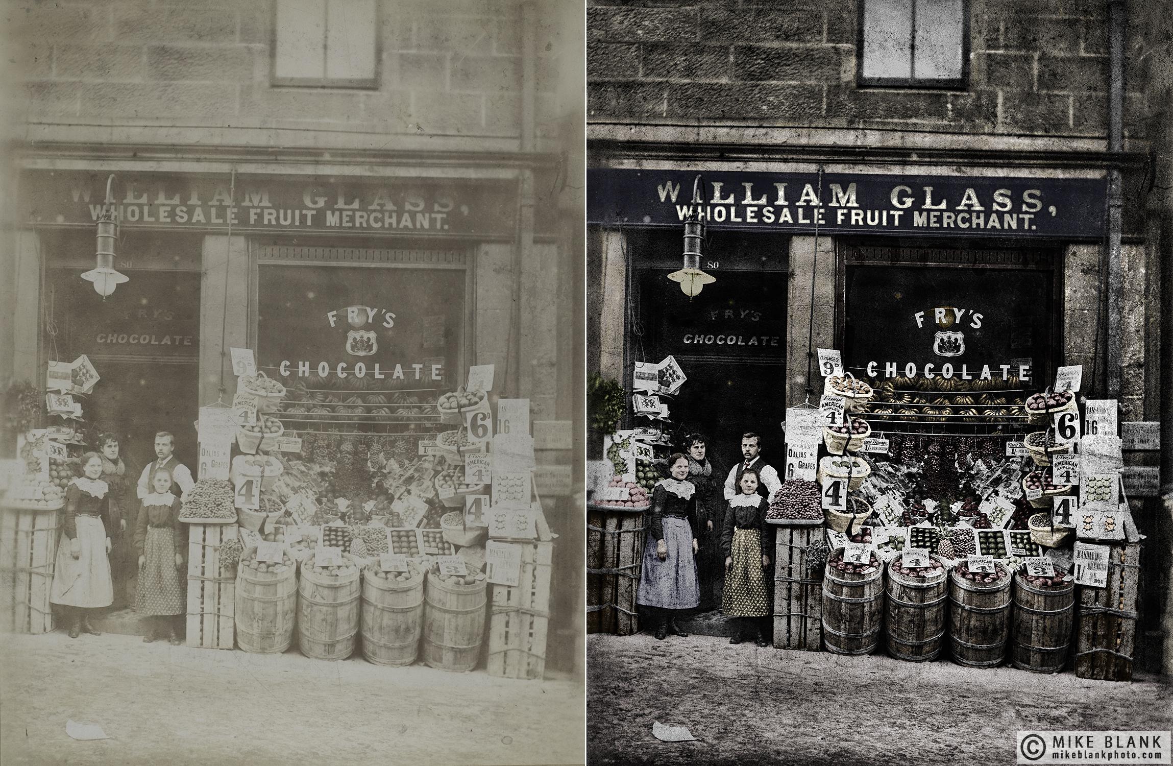 Digital restoration and colourisation: William Glass suit merchant, approx 1910, Hamilton, Scotland