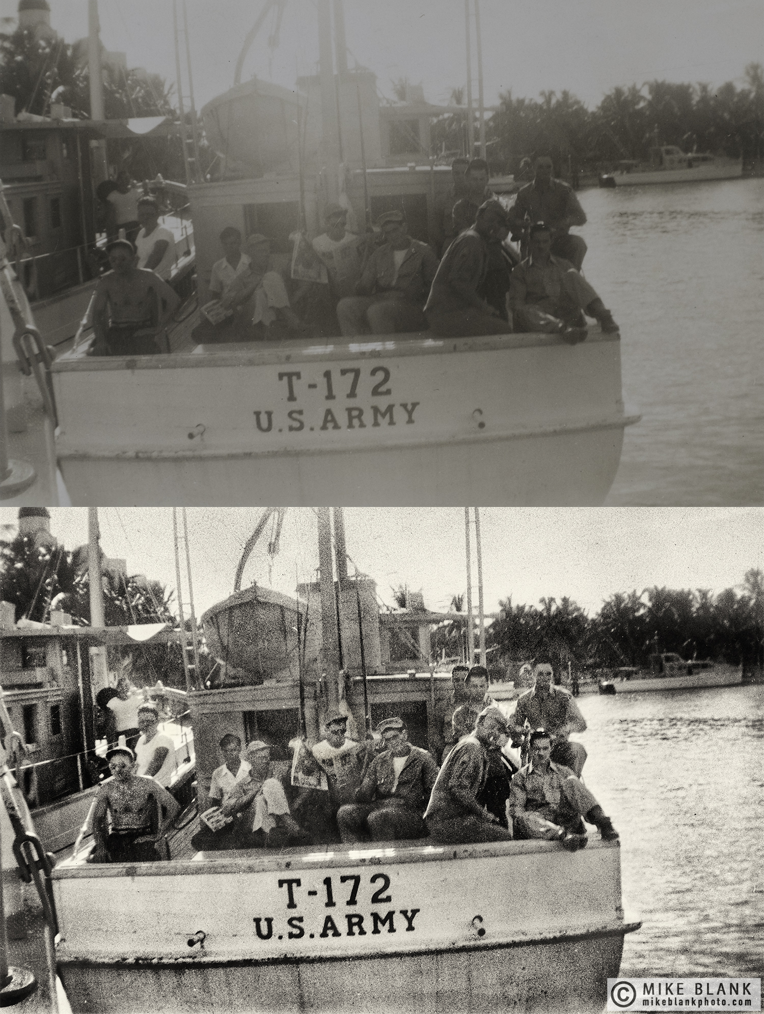Digital restoration: US Army MPs, fishing trip, Florida, 1946