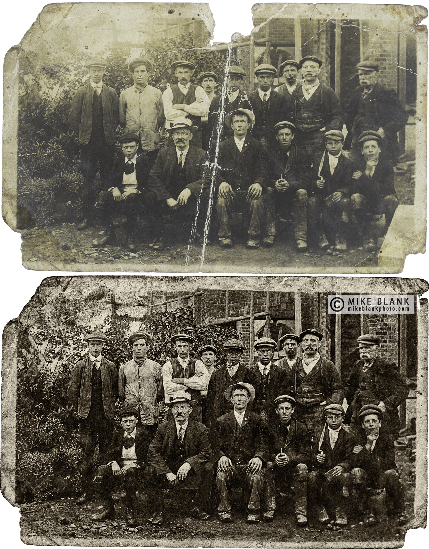 Digital restoration: Men in service at Chatsworth House.  Approx 1890 - 1900