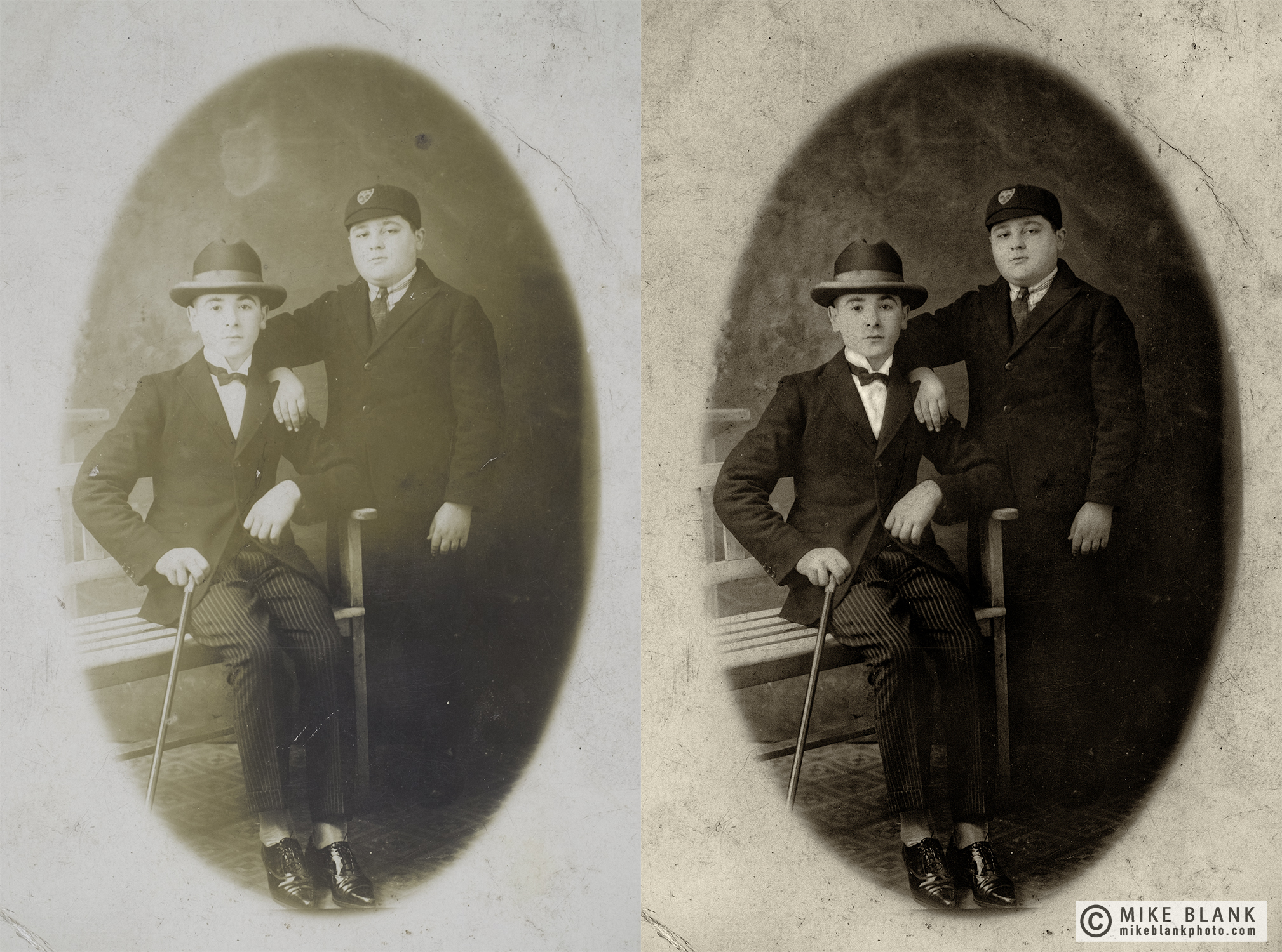 Digital restoration: my lovely uncles Joe (seated) and Jack (standing) circa 1923.