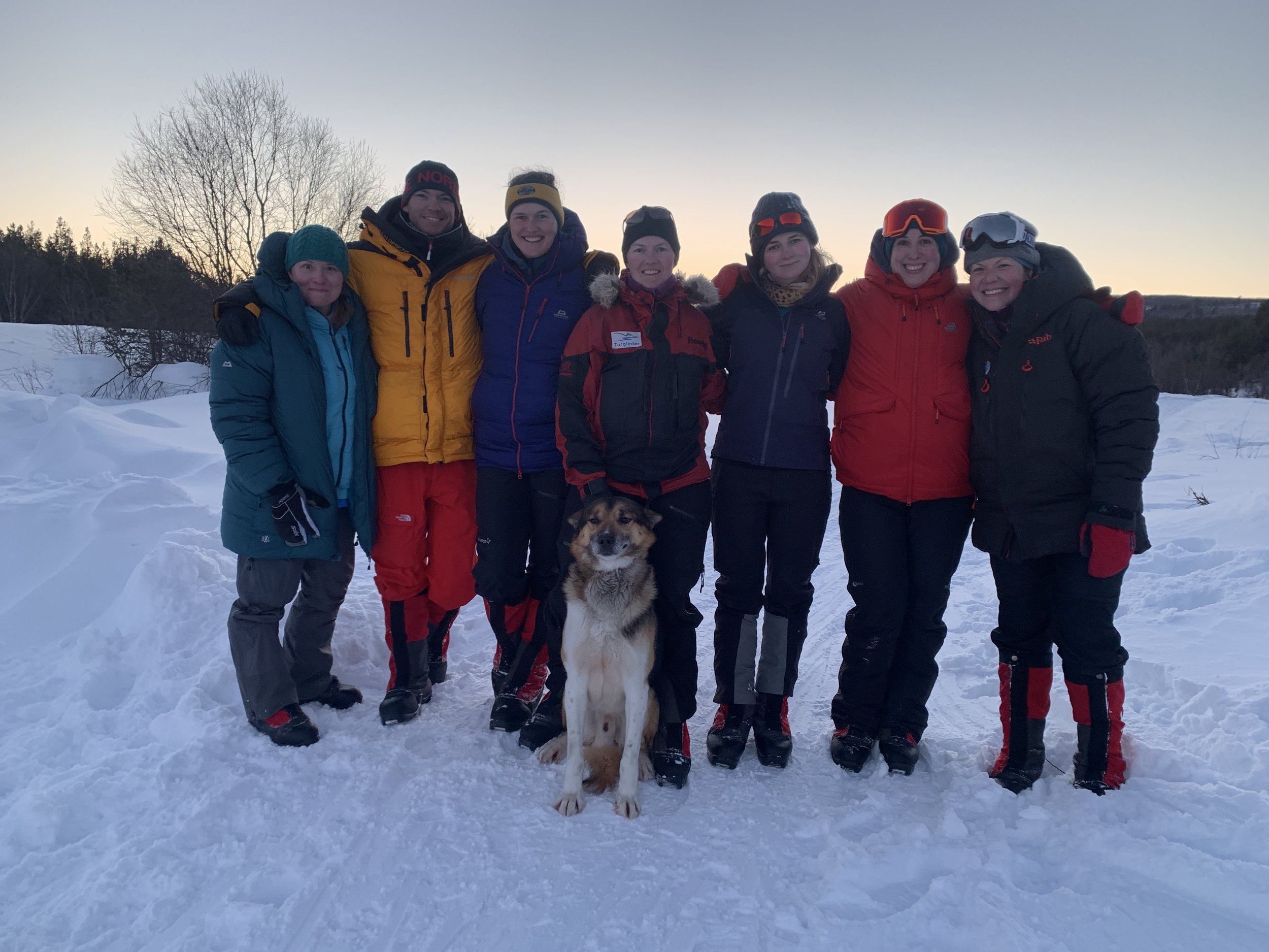 The team at the end point. Liv and Lucy in the middle with dog Sno.