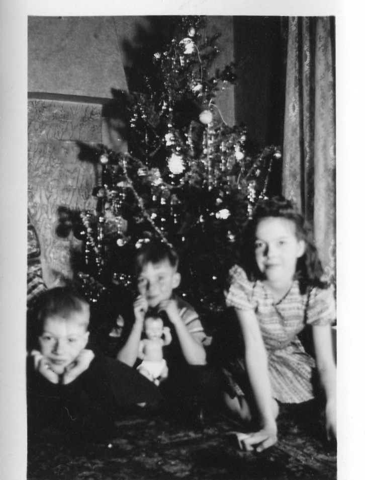Ardella's kids at Christmas: Bob, Jerry, and Bev