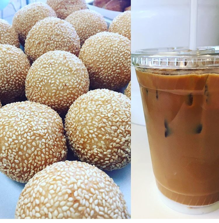A sweet pair: our popular Vietnamese Iced Coffee and giant Sesame Balls!