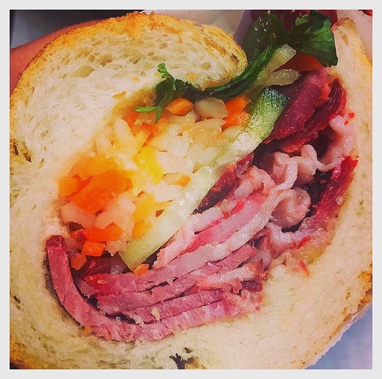 The cross-section view of one of our delicious and most traditional Combination sandwiches!