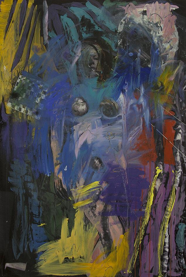 'Lina's De Kooning'  2018, Inkjet photograph & Acrylic, 80x115cm