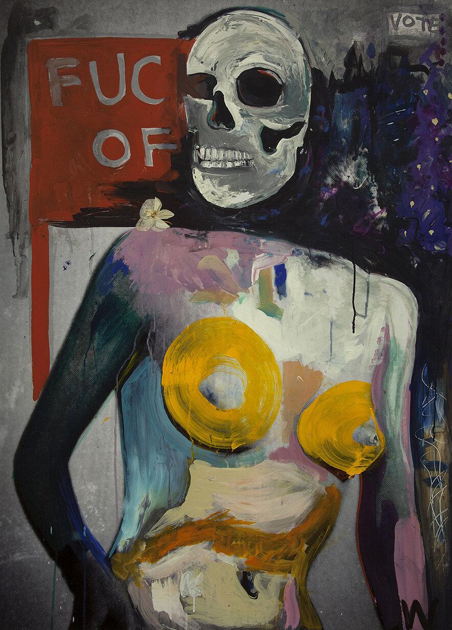 'Skeleton Lady' 2018, Inkjet photograph & Acrylic, 85x115cm