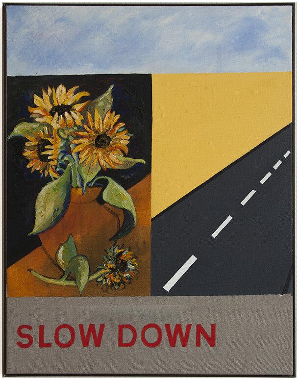 'Slow Down' 2018, Acrylic & Oil on Linen, 90x70cm