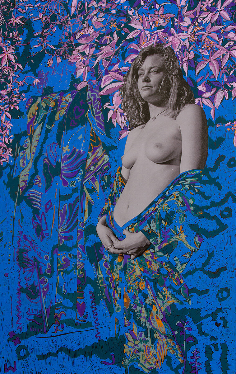 'Alma Wearing the World' 2016, Inkjet photograph & Acrylic, 106x70cm