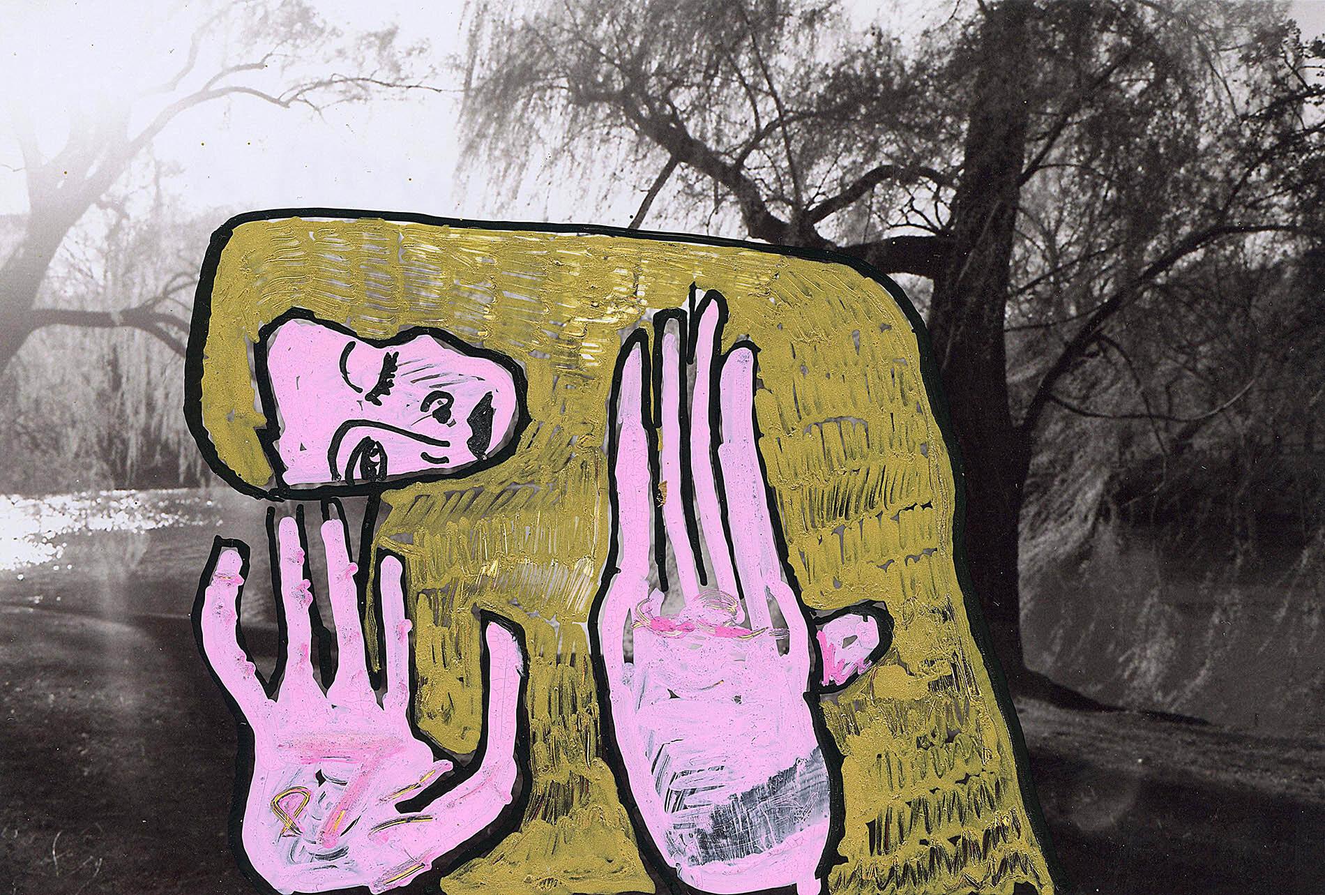 'Central Park with Gustav Klimt' 2015, Berlin, Inkjet photograph & Acrylic, 10x15cm