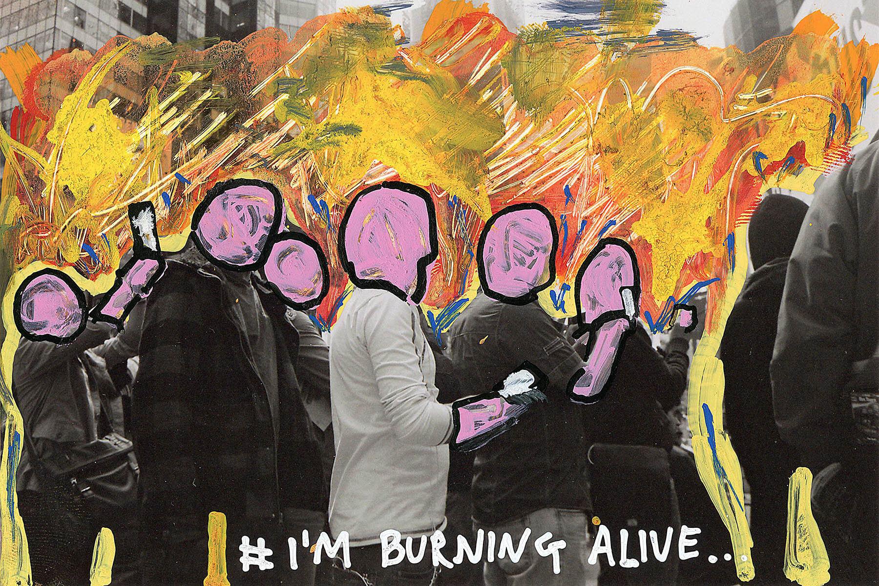 'I'm Burning Alive' 2015, Berlin, Inkjet photograph & Acrylic, 10x15cm